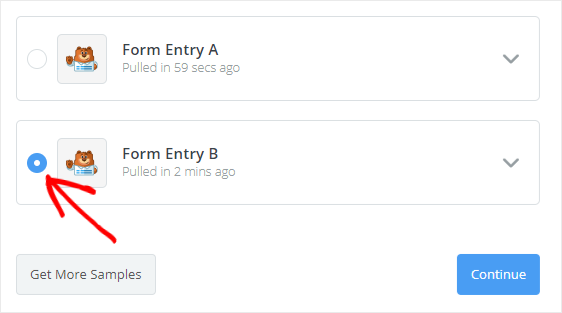 select form entry