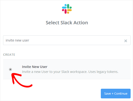 select Slack action