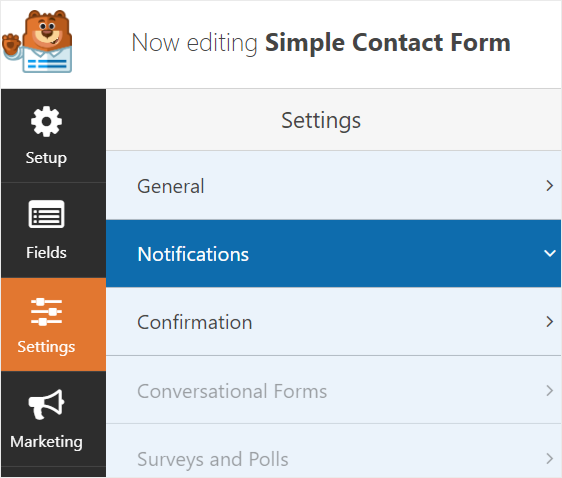 settings notifications for contact form send to multiple emails