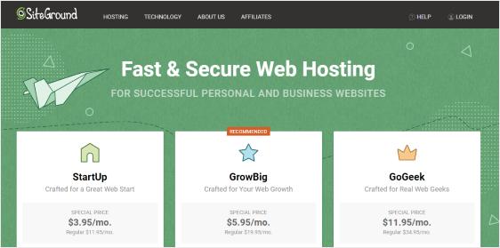 SiteGround shared hosting