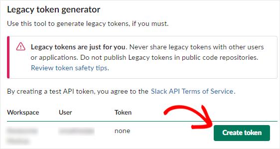 Slack legacy token generator