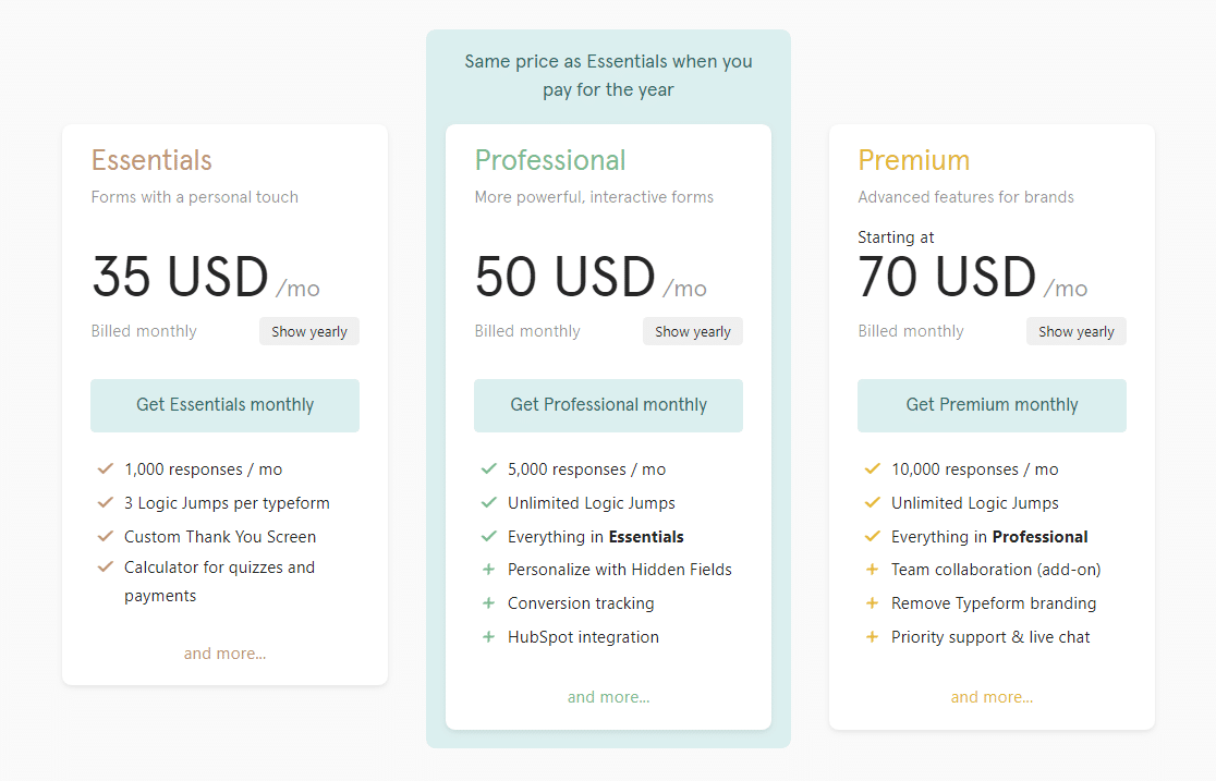 typeform pricing plans new