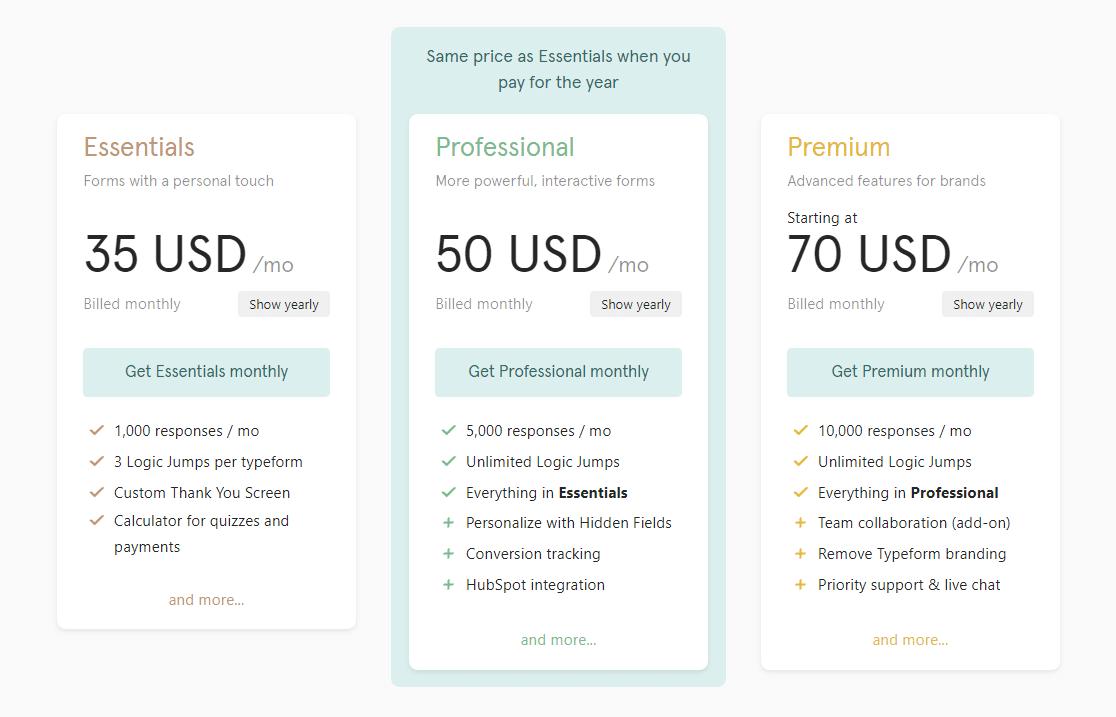 typeform pricing plans new