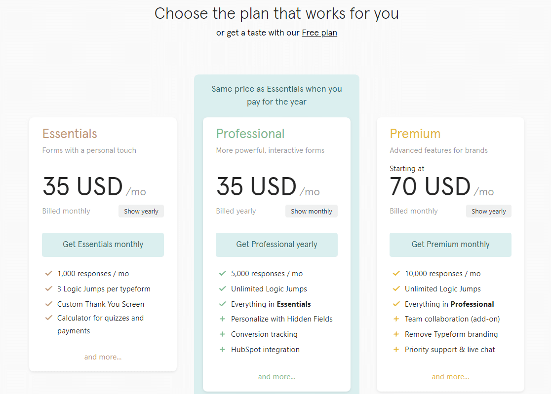 Typeform pricing plans