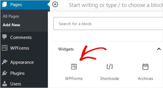 WPForms block Gutenberg editor