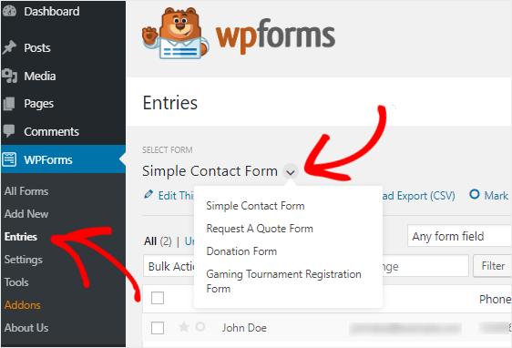 wpforms form entires