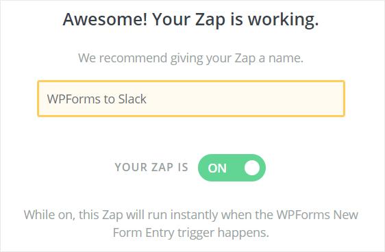 WPForms to Slack zap