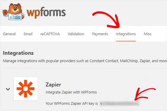WPForms Zapier integration api key