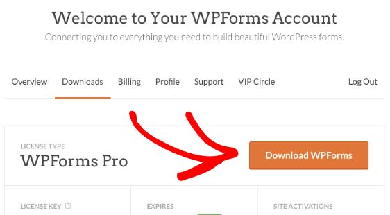 Open Downloads tab and then Download WPForms