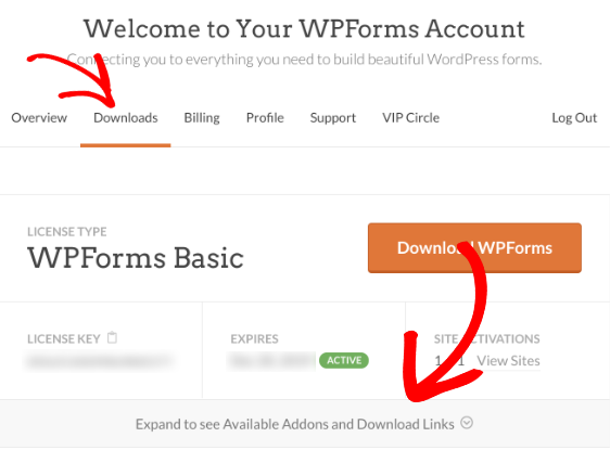 Open license details in WPForms account