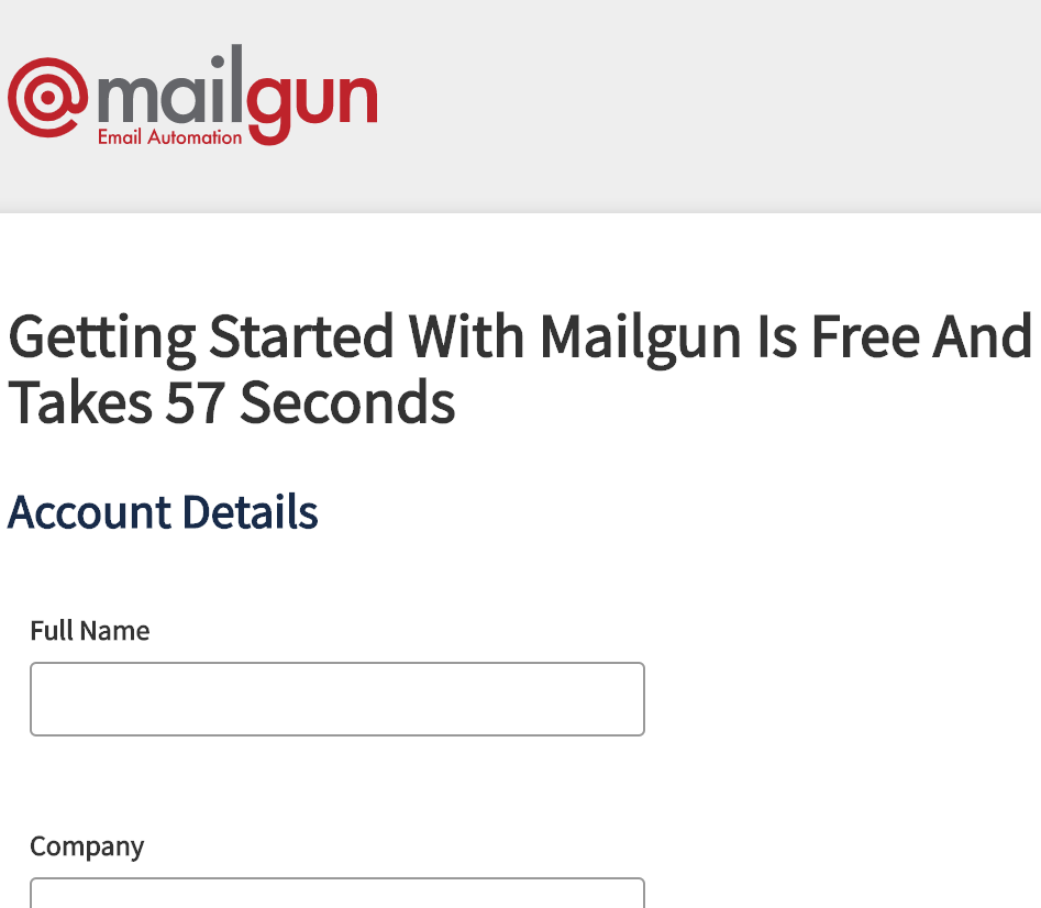 Sign up for new Mailgun account