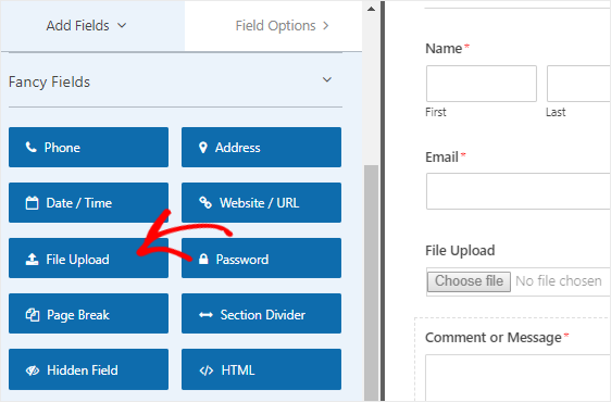 Add file upload field to your form