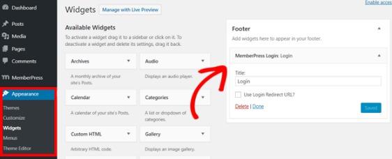 add memberpress to wordpress widget