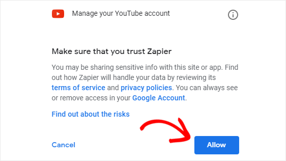 Allow permission to Zapier to upload videos to YouTube