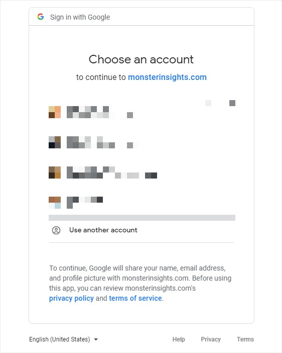 choose a google account sign in