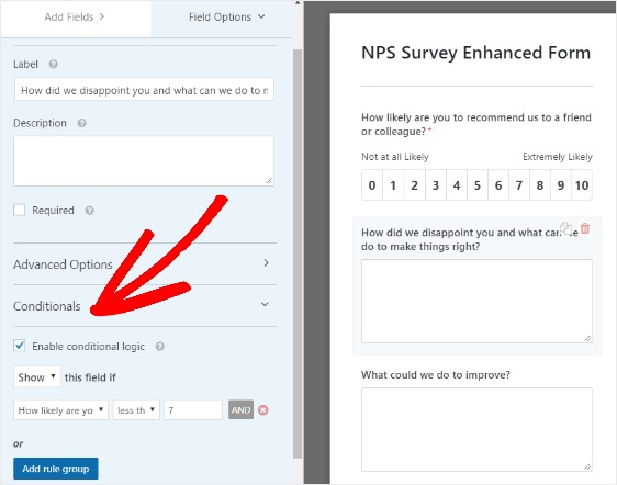 how to create nps survey form in WordPress with conditionals