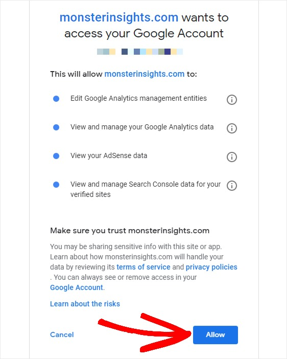 grant monsterinsights access to google account
