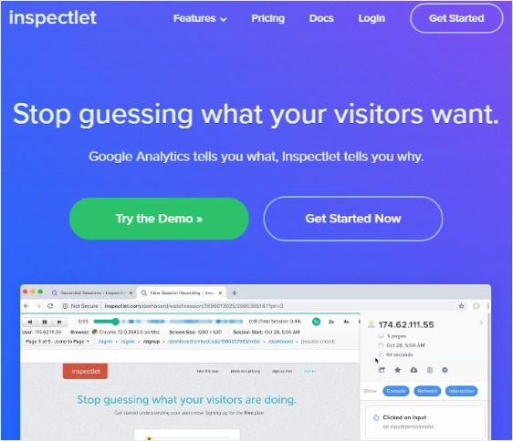 inspectlet homepage increase conversions
