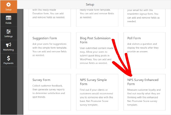 how to create nps survey form in WordPress template