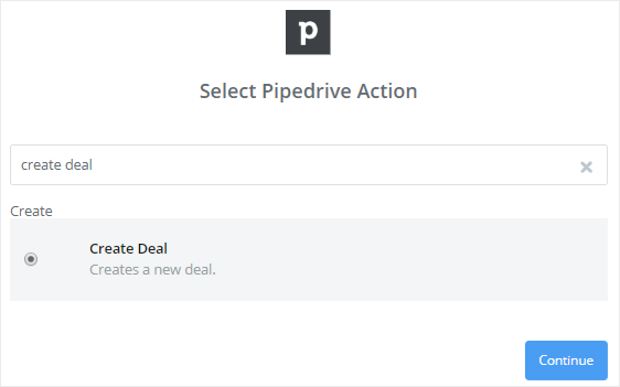 Pipedrive action create new deal