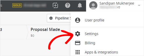 Pipedrive wordpress form website settings option