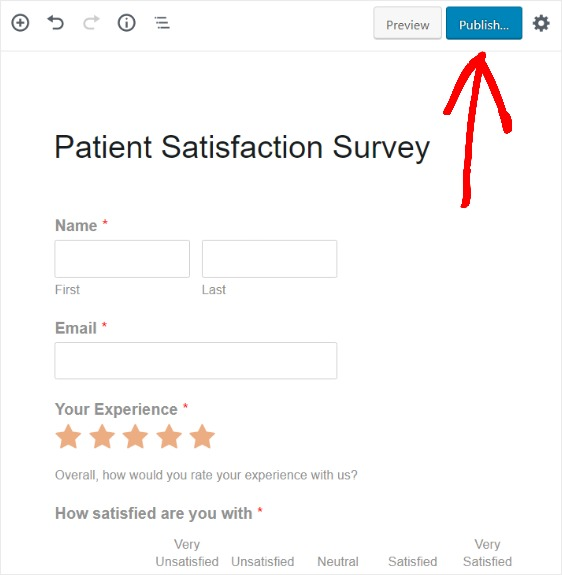 publish patients survey on new page