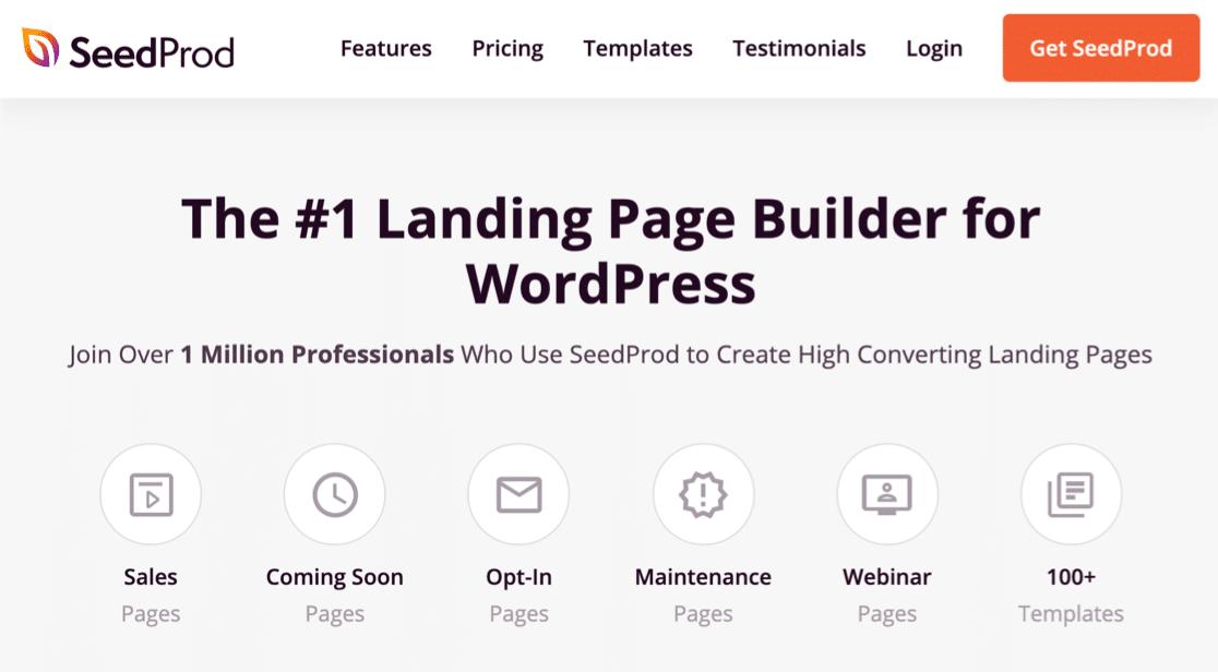 SeedProd landing page builder homepage