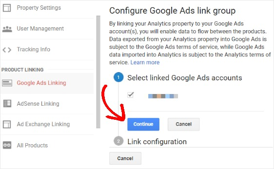 select linked google ads account