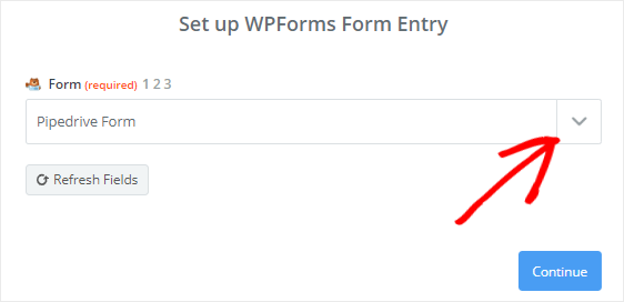 Select Pipedrive form from dropdown box