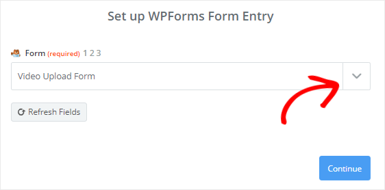 Select Video Upload form from dropdown menu
