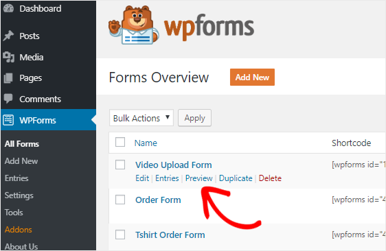 Video upload form preview option