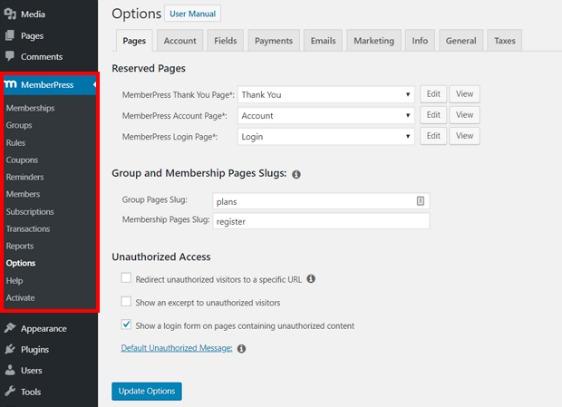 wordpress paid membership plugin memberpress options
