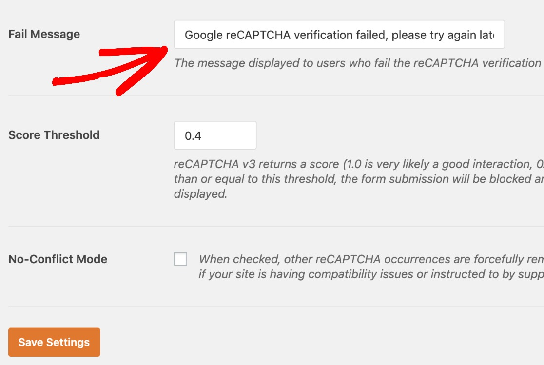 Additional-reCAPTCHA-settings-in-WPForms-edit-fail-message