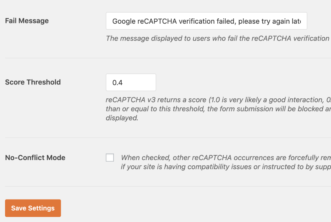 Additional reCAPTCHA settings in WPForms