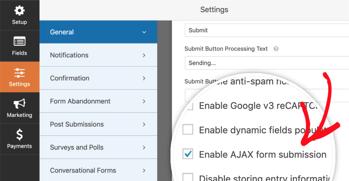 Enable AJAX form submissions in WPForms