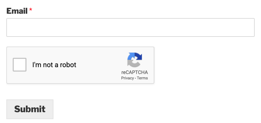 Example of Checkbox reCAPTCHA