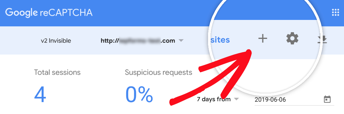 Existing reCAPTCHA users can click plus icon to add new site