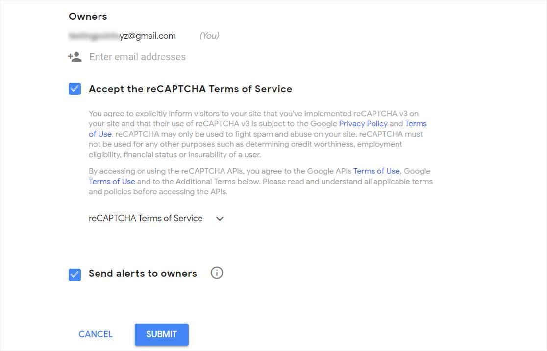 Accept reCAPTCHA terms