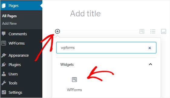 Add WPForms block to a WordPress page