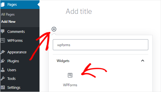 Adding WPForms block to a WordPress page
