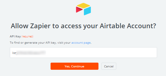 Allow Zapier to access Airtable account
