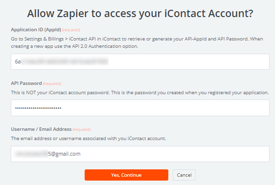 Allow Zapier to access iContact account