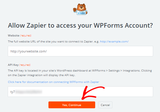 Allow Zapier to access WPForms account