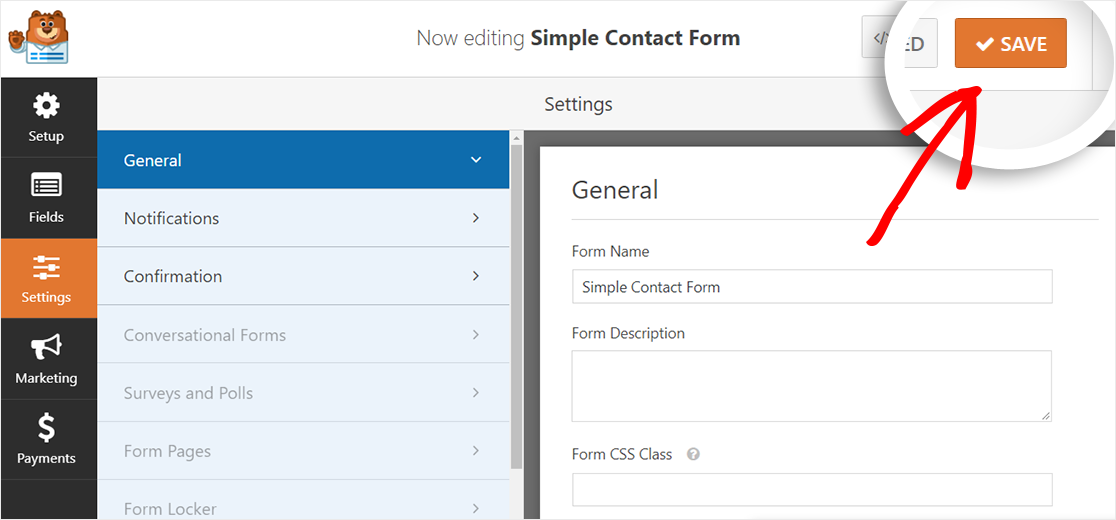 AMP-friendly contact form settings