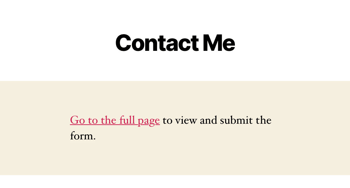 A form page that is not compatible with AMP on a mobile device