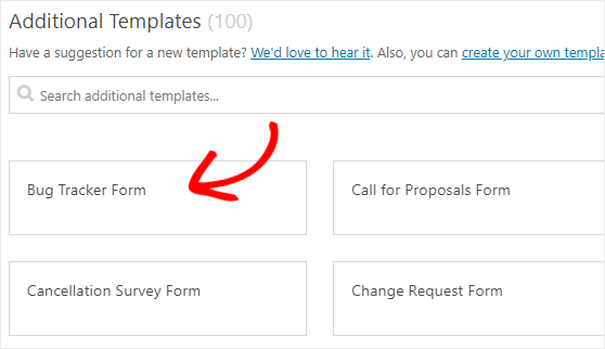 Bug Tracker form template