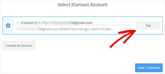 Check connection between Zapier and iContact