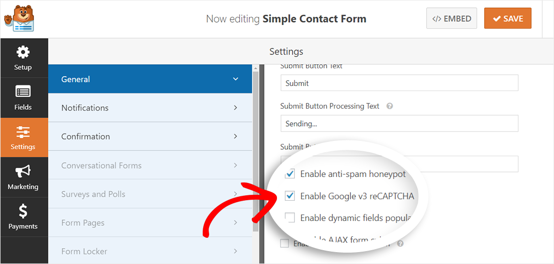 Enable Google v3 reCAPTCHA amp-friendly contact form