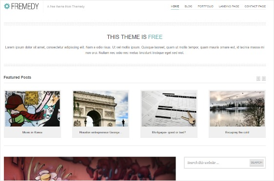 wordpress themes free download responsive with slider with blog posts