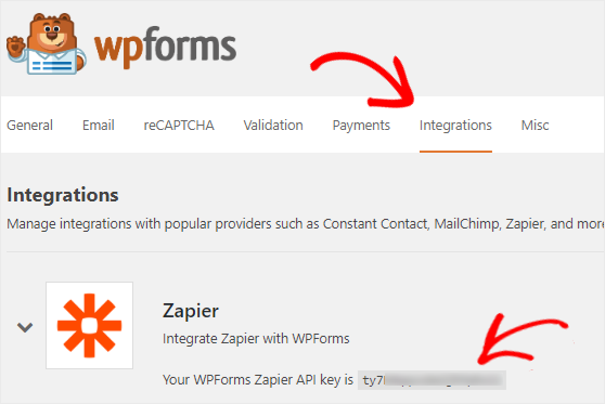 Get Zapier API key to connect WPForms account
